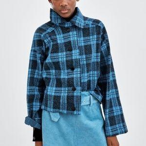 NWOT Zara Blue Flannel Jacket S